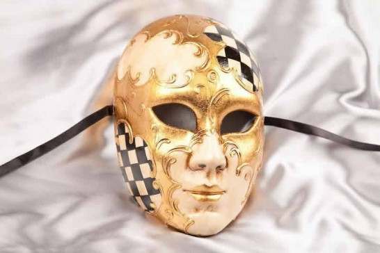 Black Volto Scacchi - Full Face Masks with Diamond Pattern
