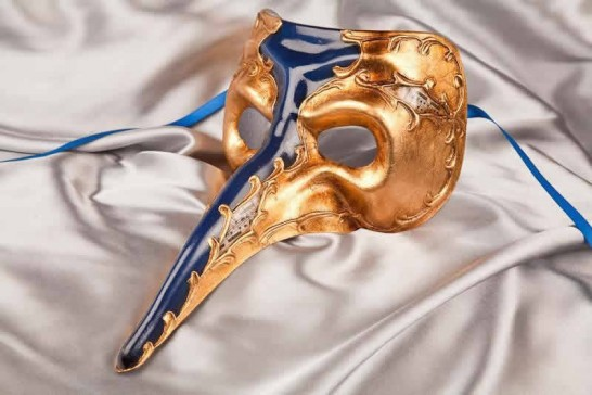 Blue Venetian Nose Masks with Leaf Decor