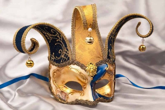 Blue Venetian Masks with Headdress Pearls and Bells