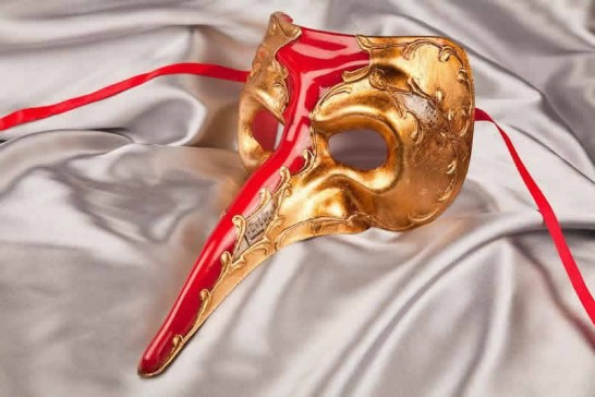 red and gold big nose masquerade mask