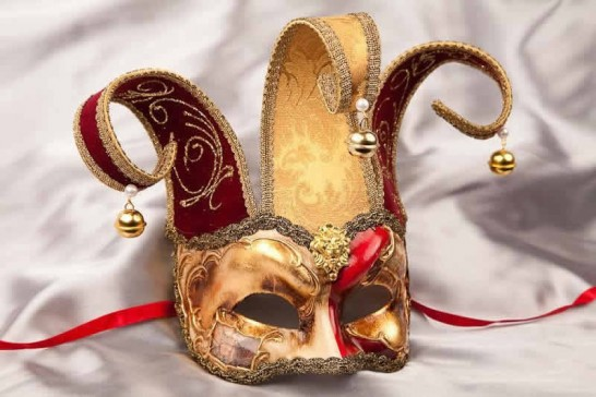 red Joker jester mask with bells