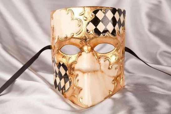 Black Bauta Scacchi - Stock Character Masks with Diamond Check