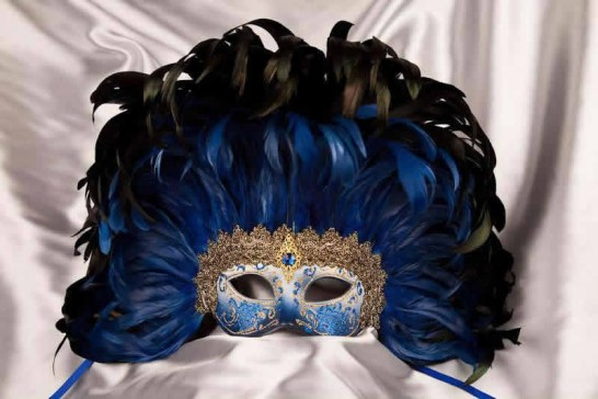Moulin Rouge feather Mardi Gras mask in blue and Gold