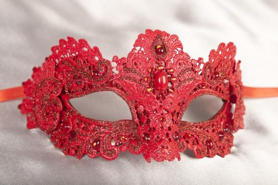 Red Macrame - Ladies Luxury Lace Mask with Gems and Crystals