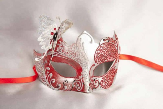 Red Teresa Silver - Female Eye Masks with Filigree Metal Butterfly