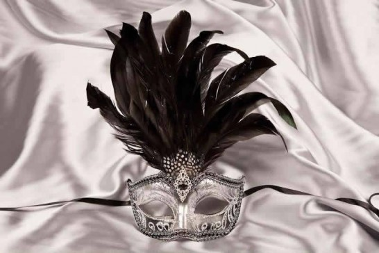 black silver centre feather mask for women