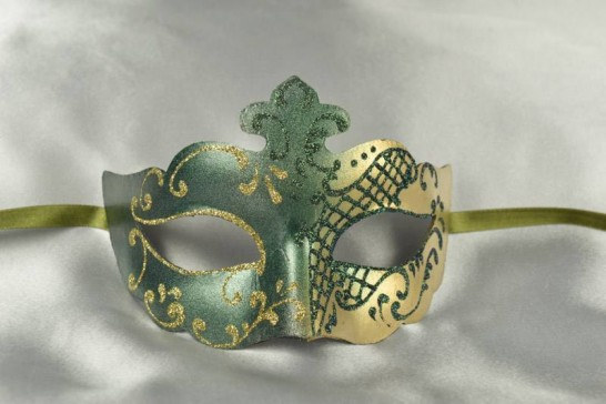 Green and Gold Venetian Masquerade Mask - Club Green