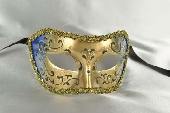 Black and Gold Colombina Venetian Masquerade Mask - Colo Swirl