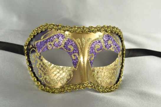 Purple and Gold Colombina Venetian Masquerade Mask for Men and Women - Colo Cross