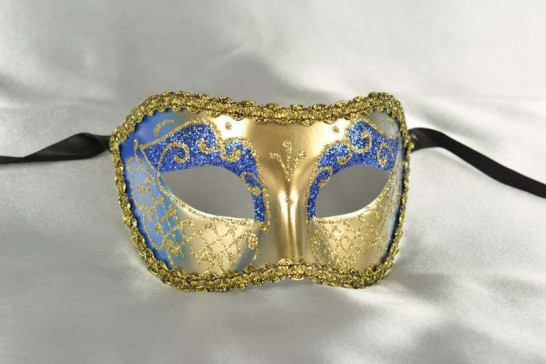 Blue and Gold Colombina Venetian Masquerade Mask for Men and Women - Colo Cross