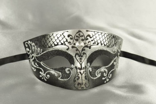 Black and Silver Budget Masculine Venetian Masquerade Mask for Men