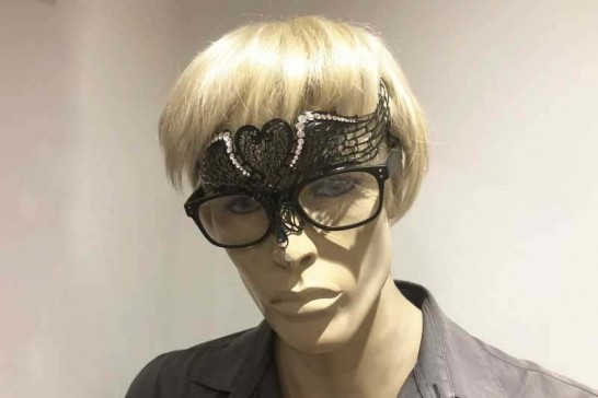 masquerade mask designed to be worn with glasses shown on male model