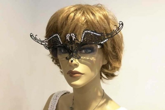 masquerade mask for glasses Ali Strass attached to Spectacles on female