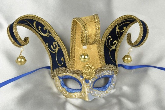 Blue Baby Jester Fiore Gold - Small Jolly Jester Masks