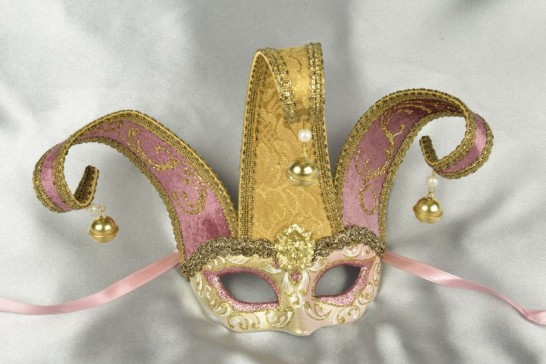 Pink Baby Jester Fiore Gold - Small Jolly Jester Masks