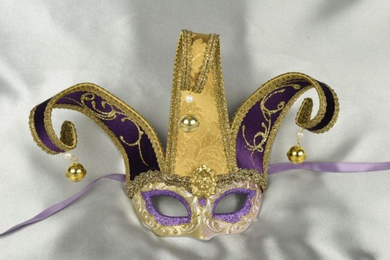 Purple Baby Jester Fiore Gold - Small Jolly Jester Masks