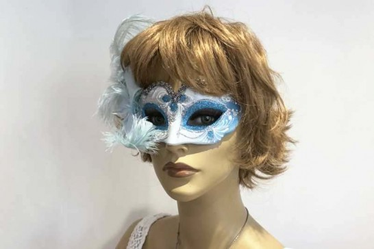 baby piuma small masquerade mask with feathers on female model face