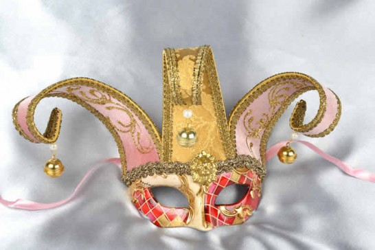 Childs jester Masquerade Mask in pink