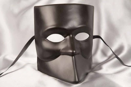 One colour Venetian Bauta Mask in black