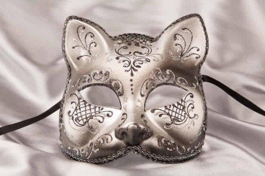 Black silver Cat Mask for Animal Masquerading