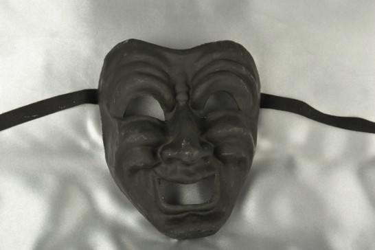 Commedia Black - Comic Happy Laughing Theatre Masks DAMAGED