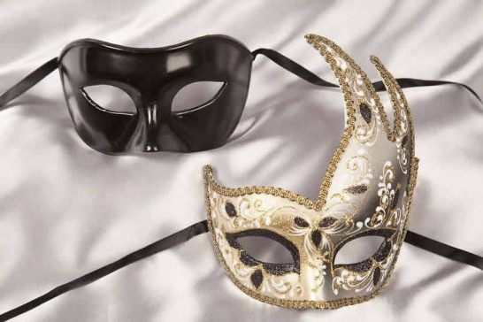 Couples masquerade masks black gold