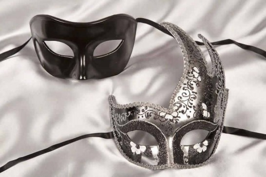 Couples masquerade masks black silver