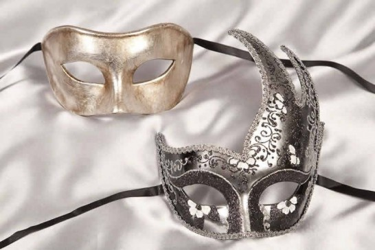 Black Cigno Fiore Silver - Masquerade Masks for Couples