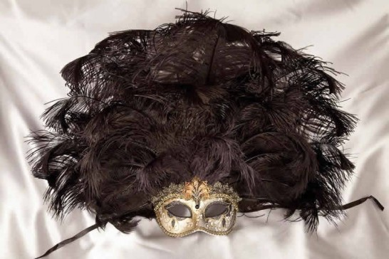 Full feathered Rio carnival mask for Venetian ball in gold and black