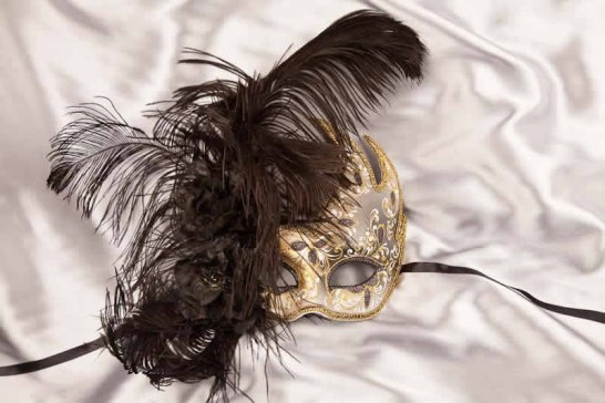 Gold Venetian Swan Masks with feathers in black