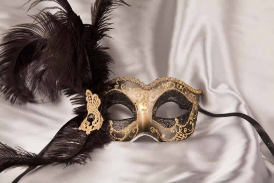 black Side feather mask - Semplice Gold