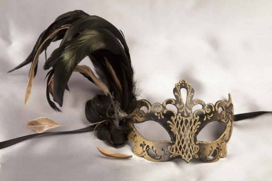 Paper Mache Venetian Mask with feathers in black and gold