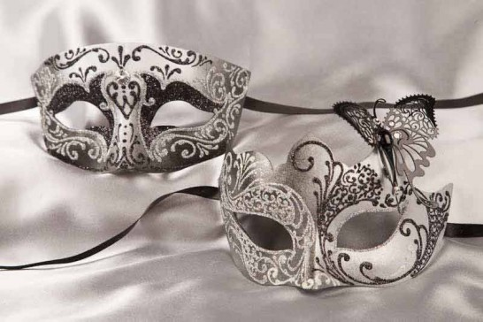 Pair of black silver masquerade masks with butterfly | Tomboy Teresa