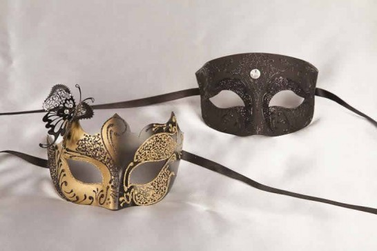 Pair of black and gold masquerade masks with butterfly | Tomboy Teresa