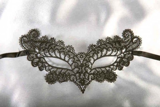 Black Burlesque - Ladies Material Lace Masquerade Mask with Colour Glitter