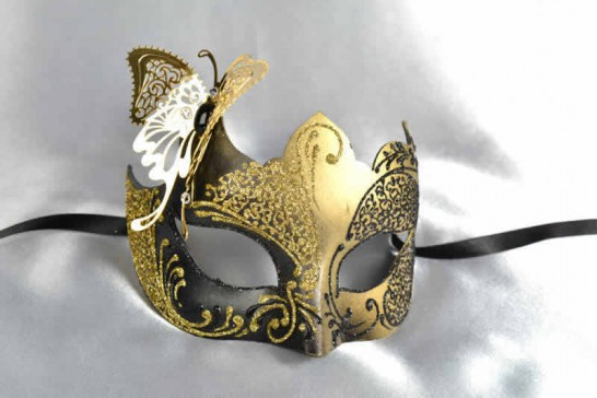 gold gold butterfly ball mask