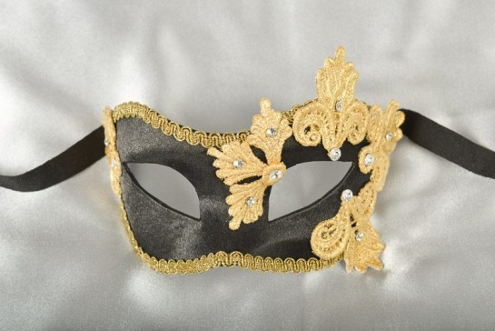 black and gold satin and lace masquerade mask