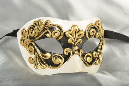 Venetian mask Colombina Occhi in white black and gold