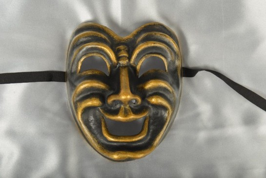 Comedy Masks - Black and Bronze