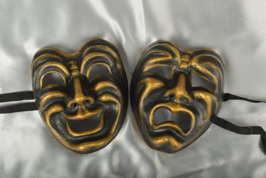 Pair of Comedy Tragedy Masks - Black and Bronze