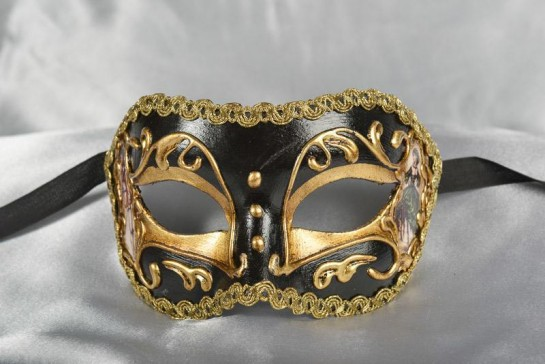 Black and Gold Colombina mask