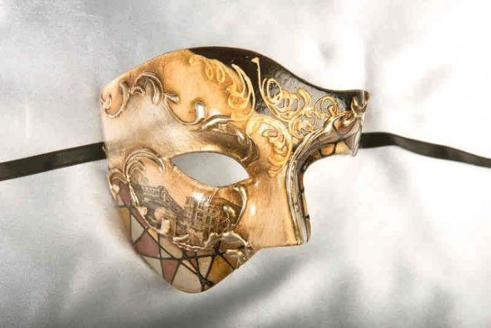 Black and gold Phantom Masquerade Masks with Scenes of Venice