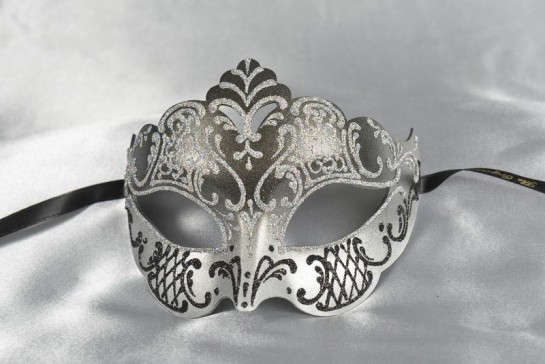 Tiara shaped masquerade mask in silver and black