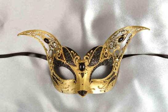 black and gold Luxury Venetian cat mask with filigree metal ears
