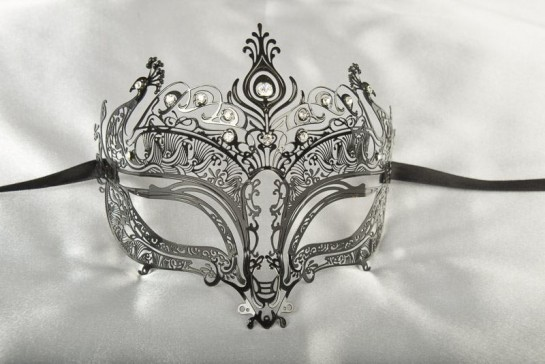 1920s Peacock Style Metal Lace Venetian Masquerade Mask - Peacock Lux