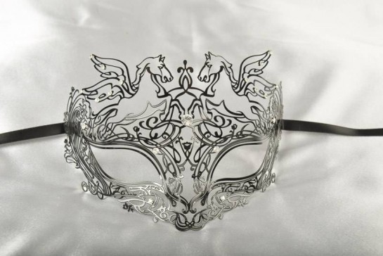 1920s Look Black Filigree Metal Venetian Masquerade Mask - Pegasus Lux