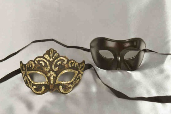 black masquerade masks for couples Colombina and Princess