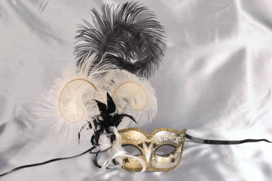 Black and white feathered mask