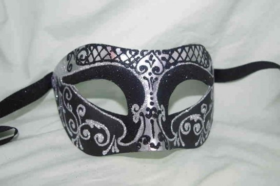 Unisex Colombina mask with glitter and silver trim in black