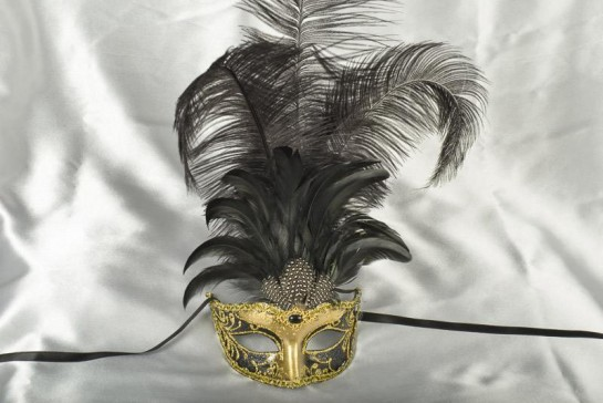 tall feather ladies masquerade mask in black and gold